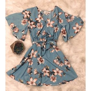 NWOT teal and floral dress